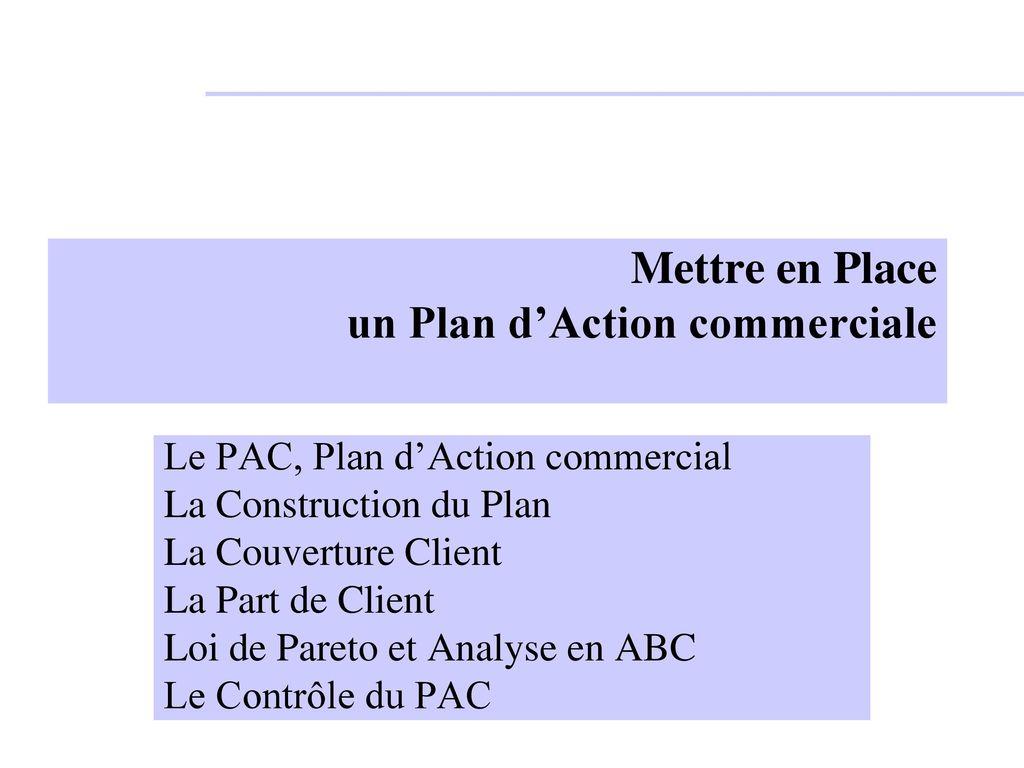 mettre en place un plan d u2019action commerciale