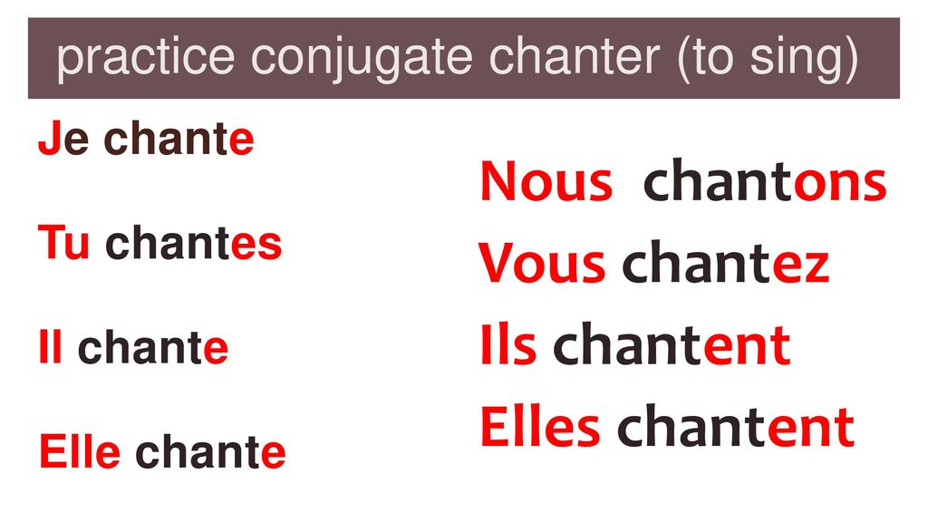 practice conjugate chanter (to sing)