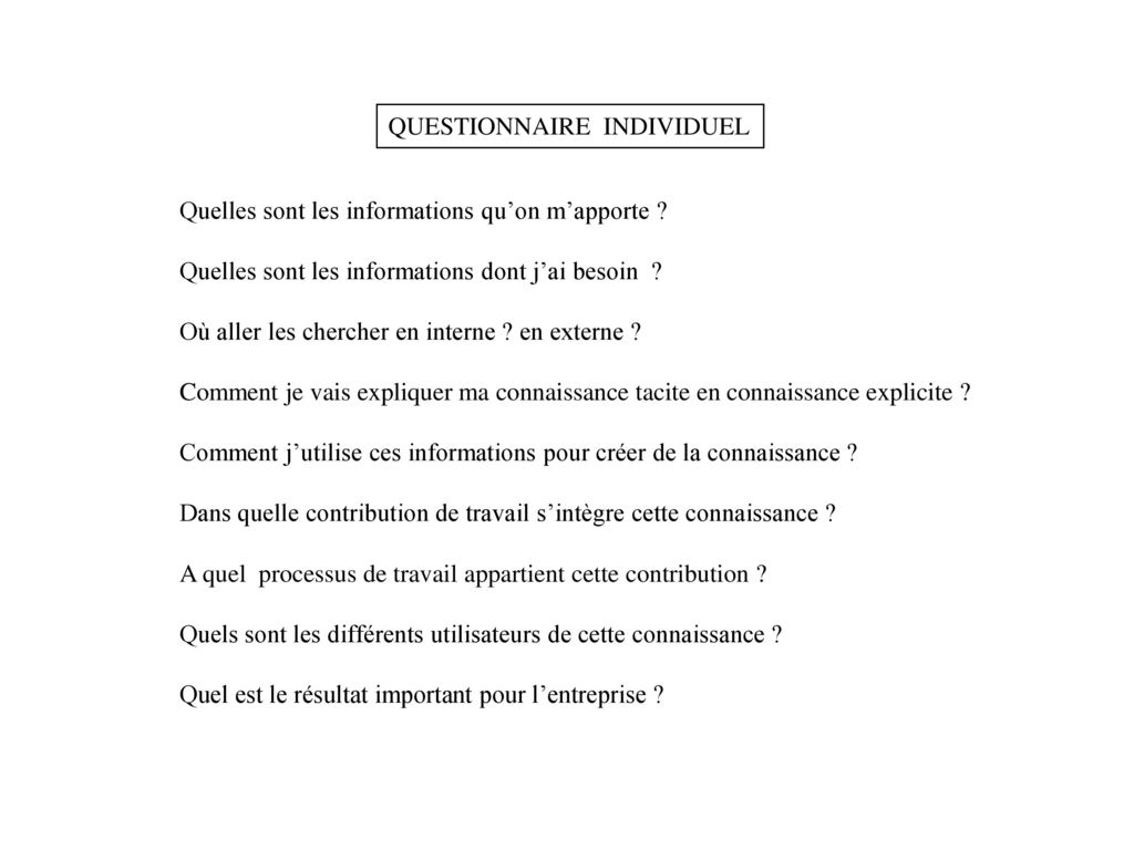 QUESTIONNAIRE INDIVIDUEL