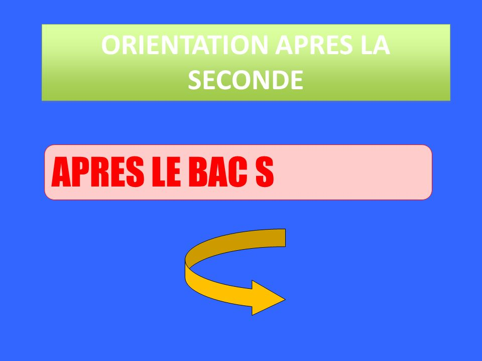 ORIENTATION APRES LA SECONDE APRES LE BAC S