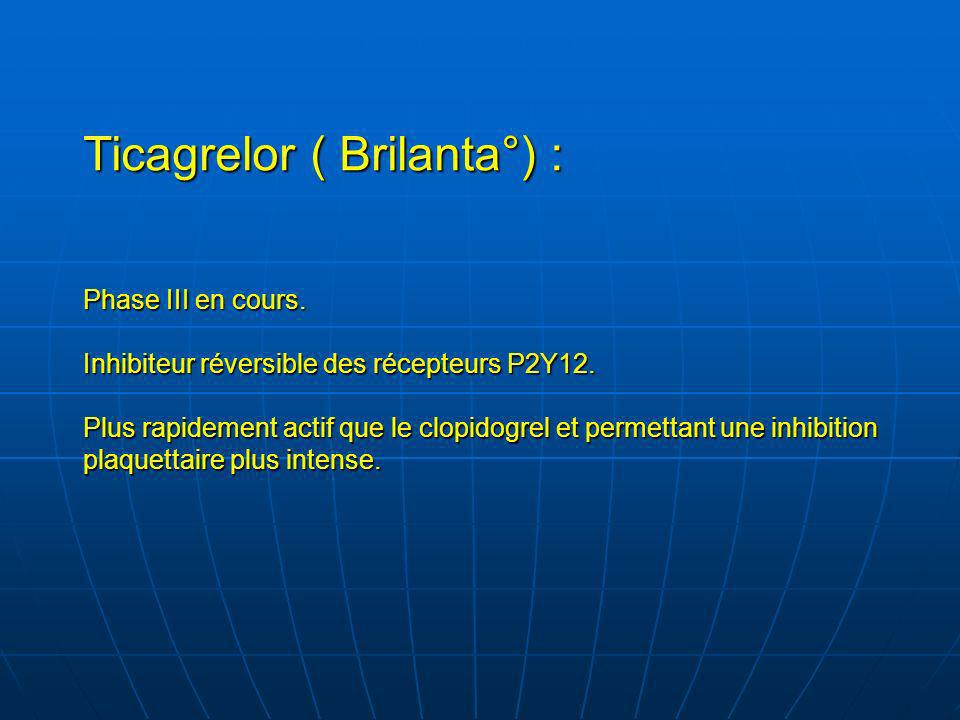 Ticagrelor ( Brilanta°) : Phase III en cours