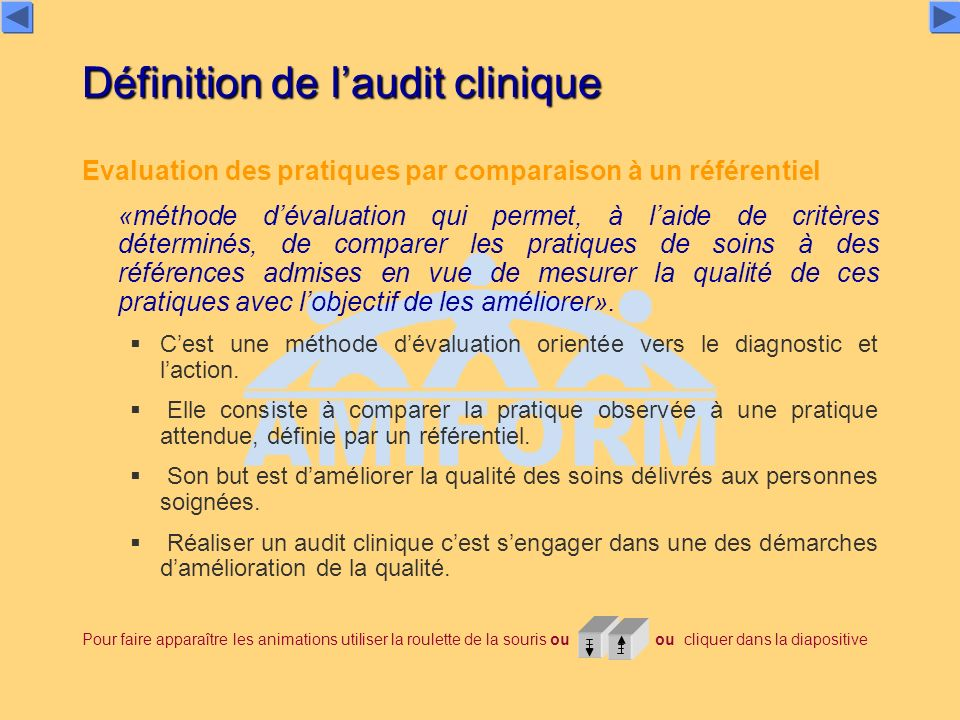 Définition de l'audit clinique