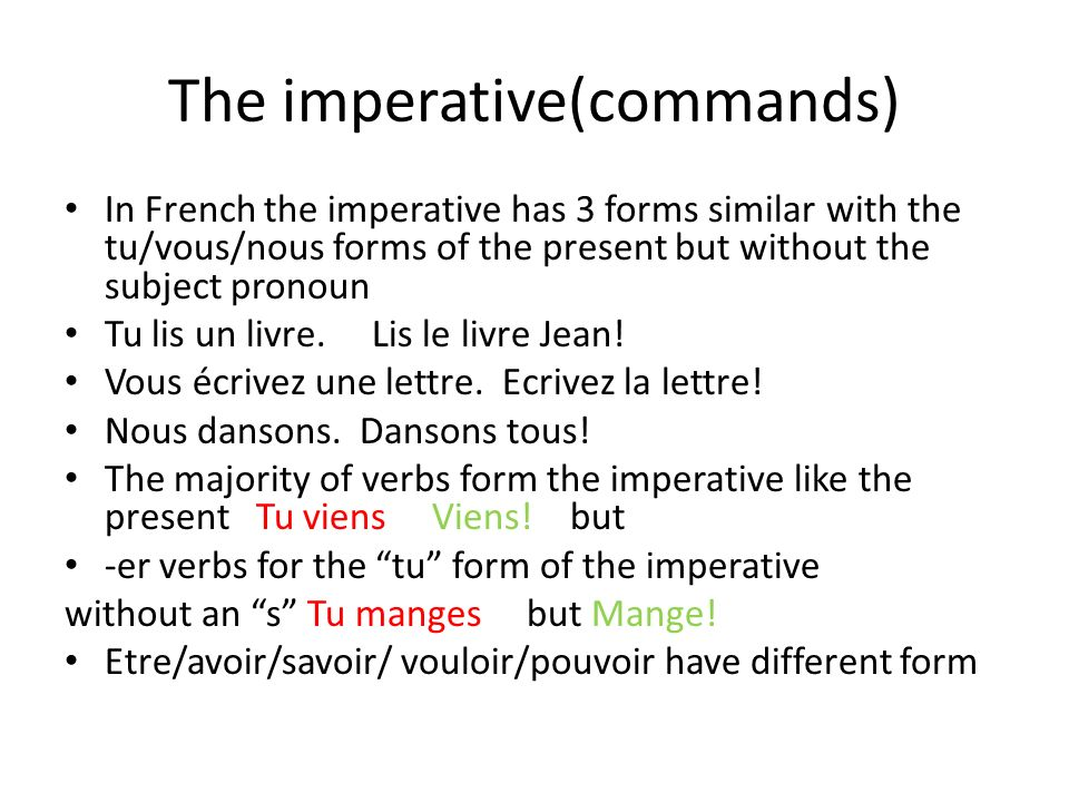 The imperative(commands)