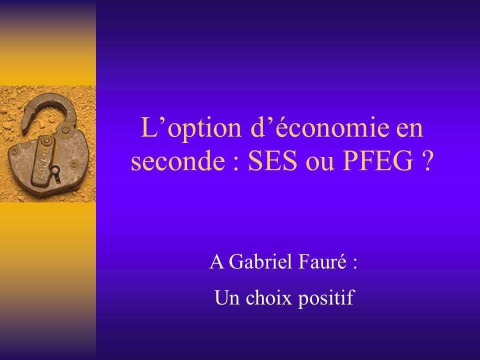 L'option d'économie en seconde : SES ou PFEG