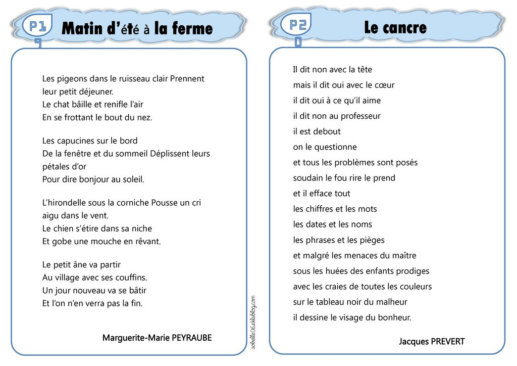Recueil De Poèmes Ce2 Cm1 Cm2 Sommaire 01 Balle Au Mur