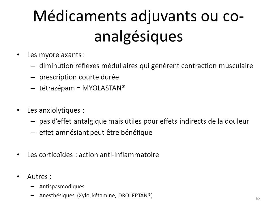 Médicaments adjuvants ou co-analgésiques