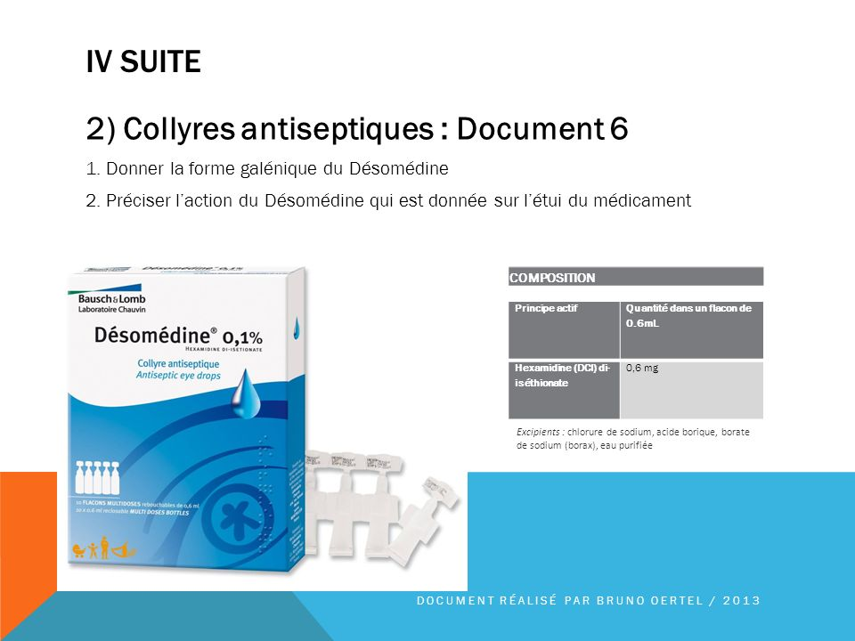 2) Collyres antiseptiques : Document 6