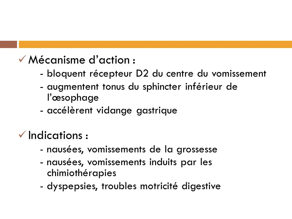 Mécanisme d'action : Indications :