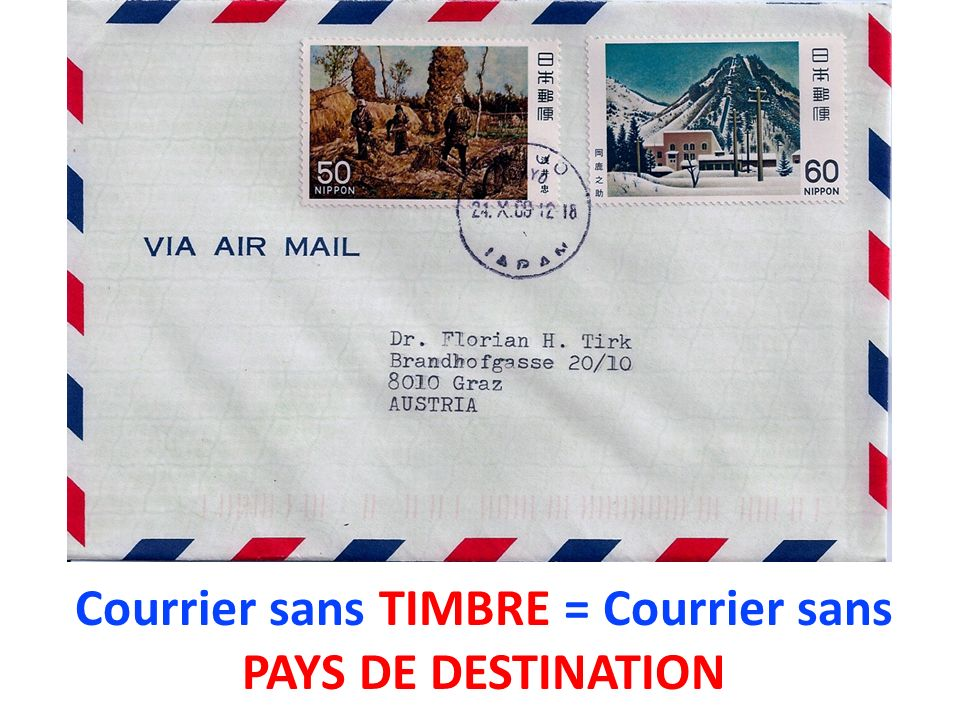 Courrier sans TIMBRE = Courrier sans PAYS DE DESTINATION
