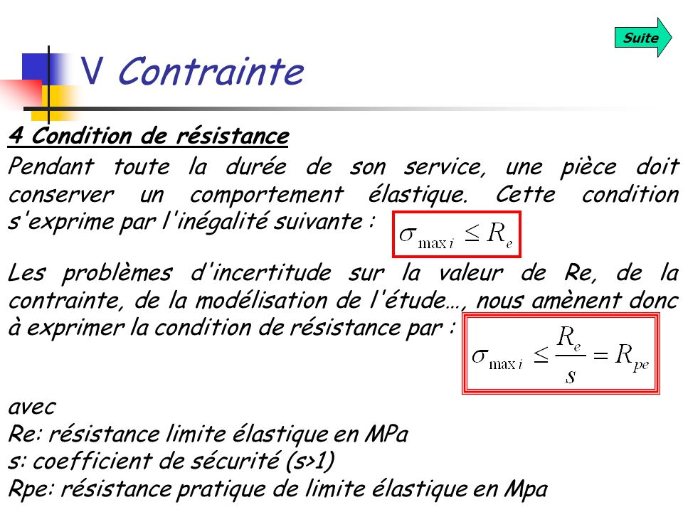 V Contrainte 4 Condition de résistance