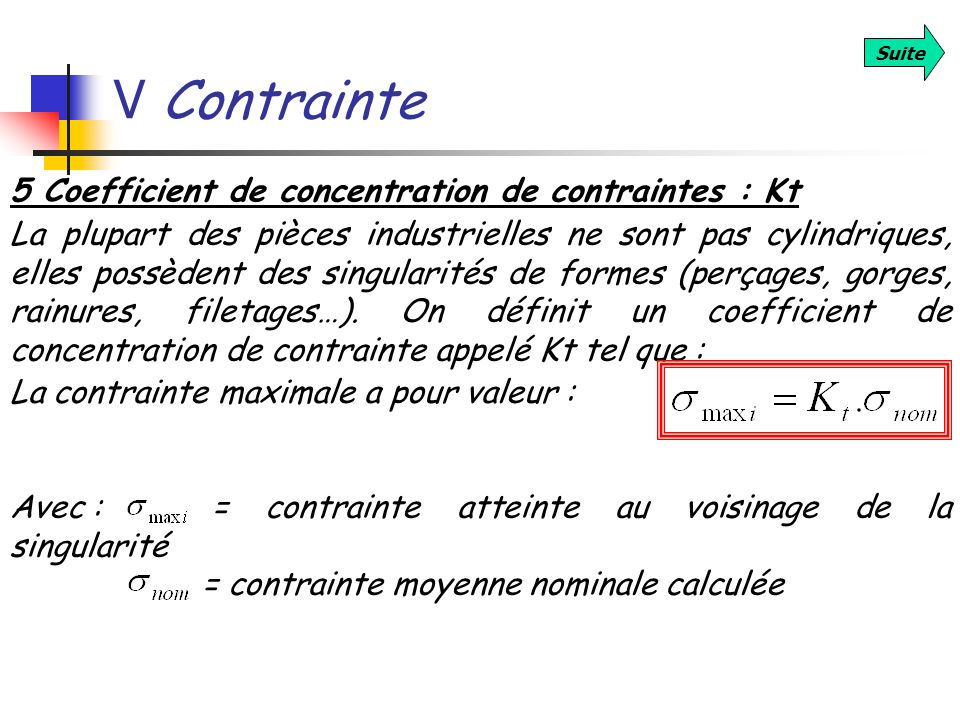 V Contrainte 5 Coefficient de concentration de contraintes : Kt