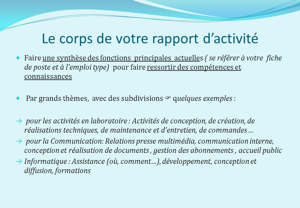 Le Rapport D Activite Professionnelle Ppt Video Online Telecharger