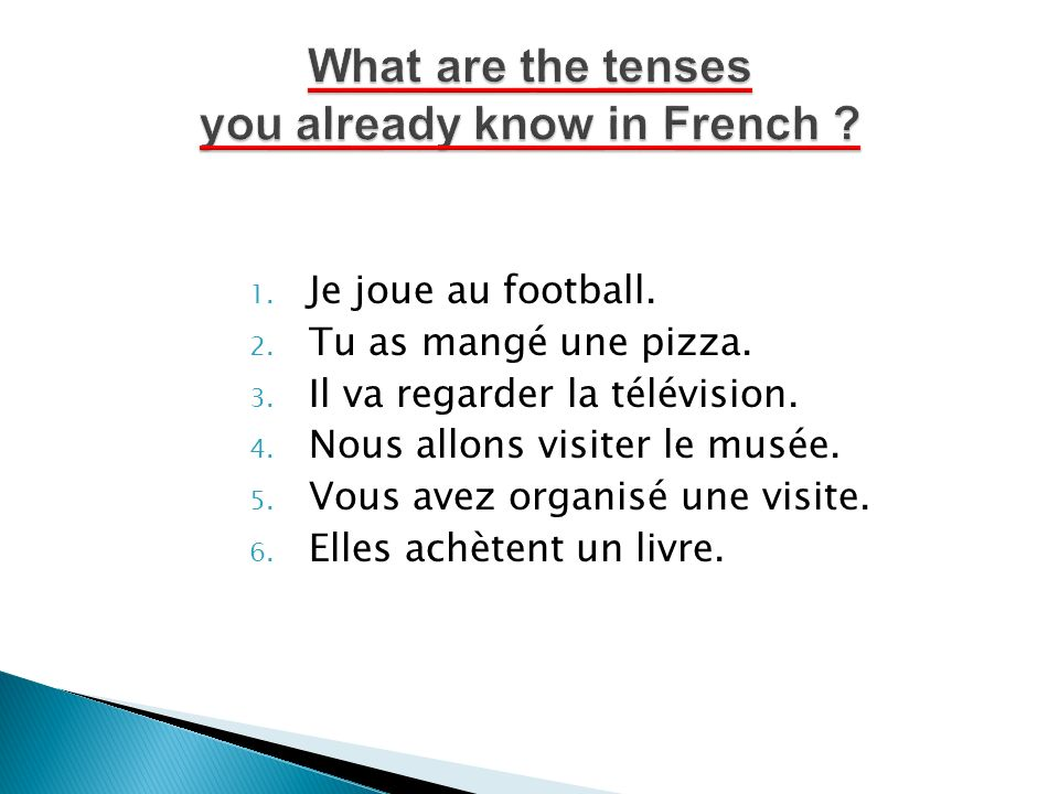 What are the tenses you already know in French