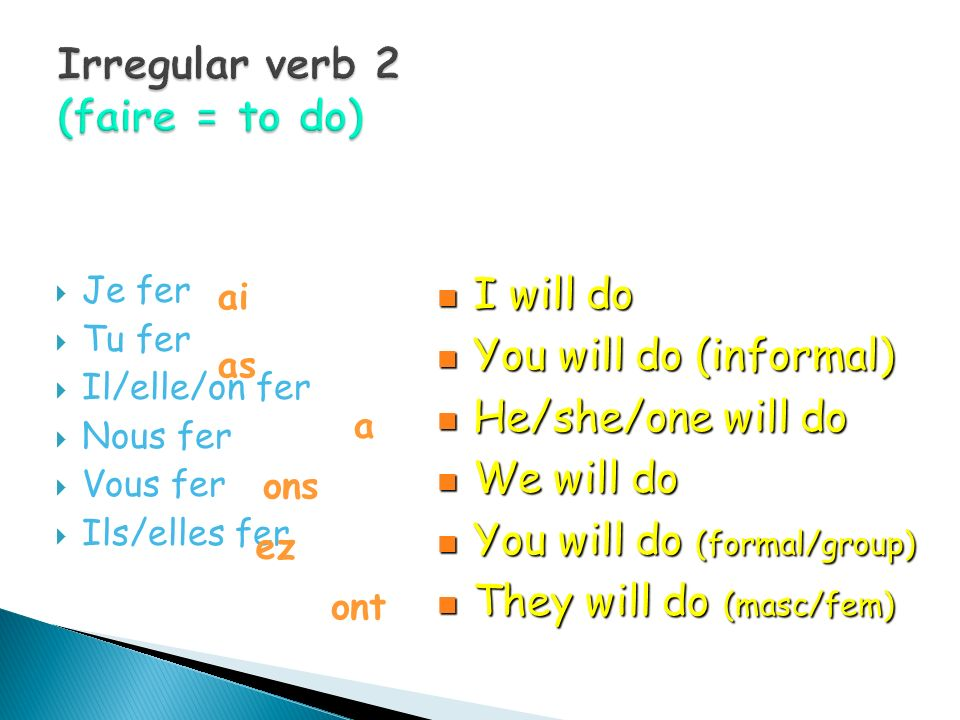 Irregular verb 2 (faire = to do)