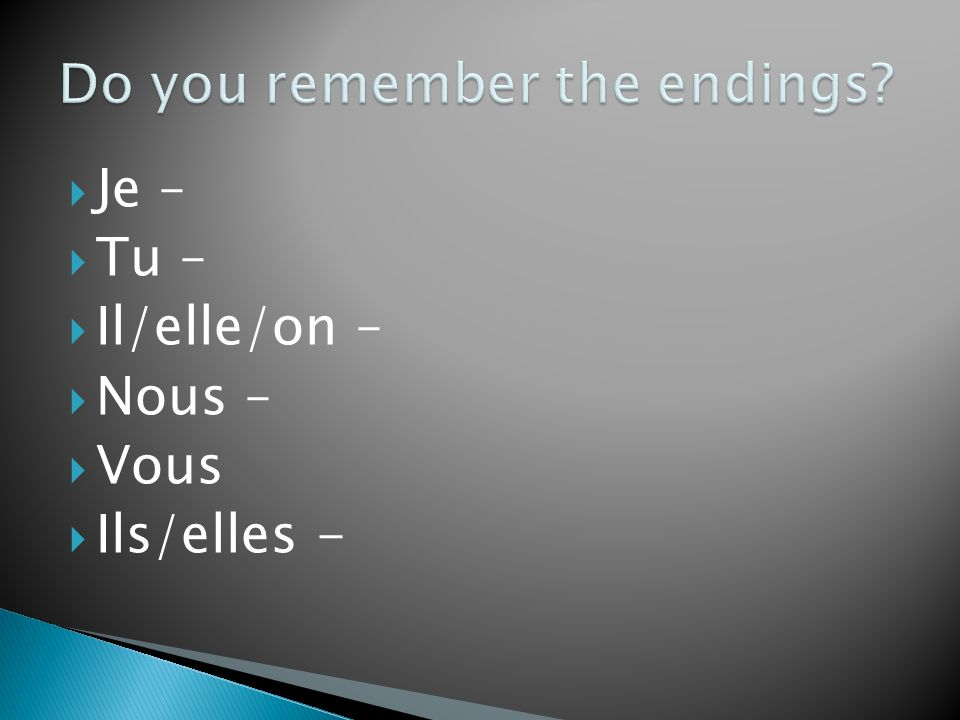 Do you remember the endings