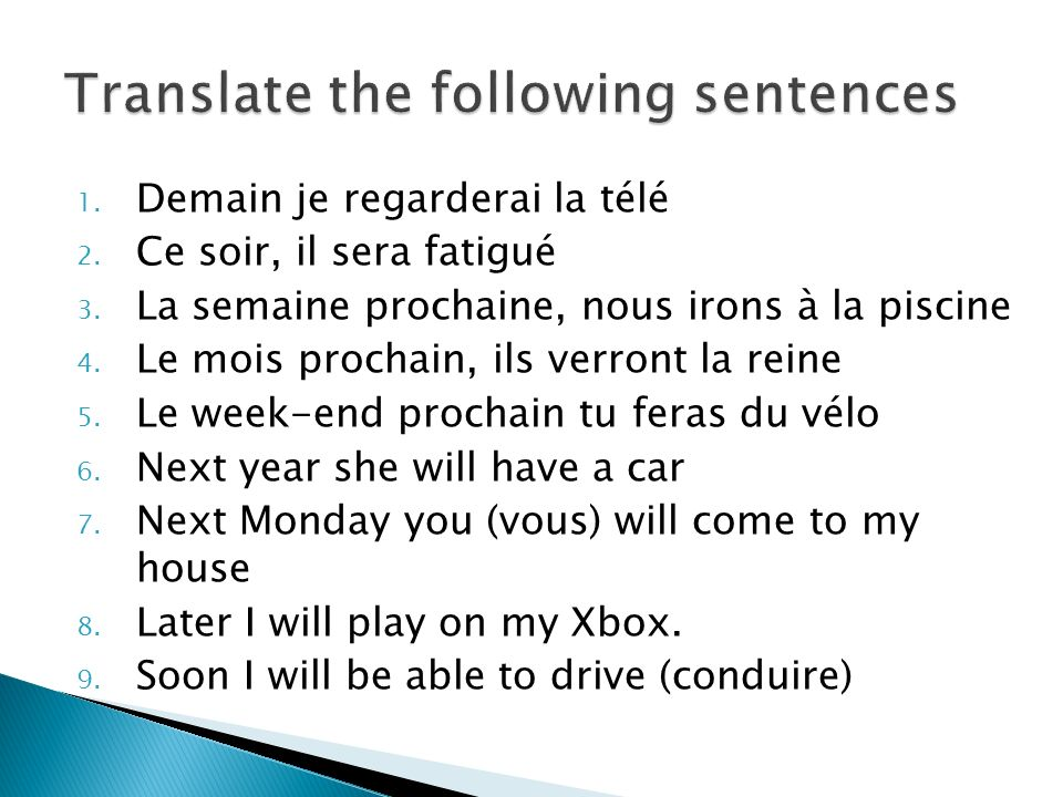 Translate the following sentences