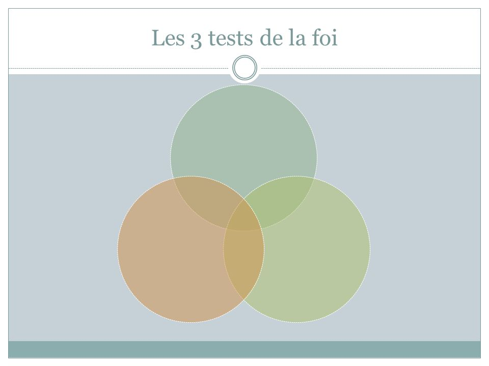 Les 3 tests de la foi