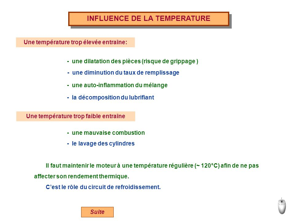 INFLUENCE DE LA TEMPERATURE