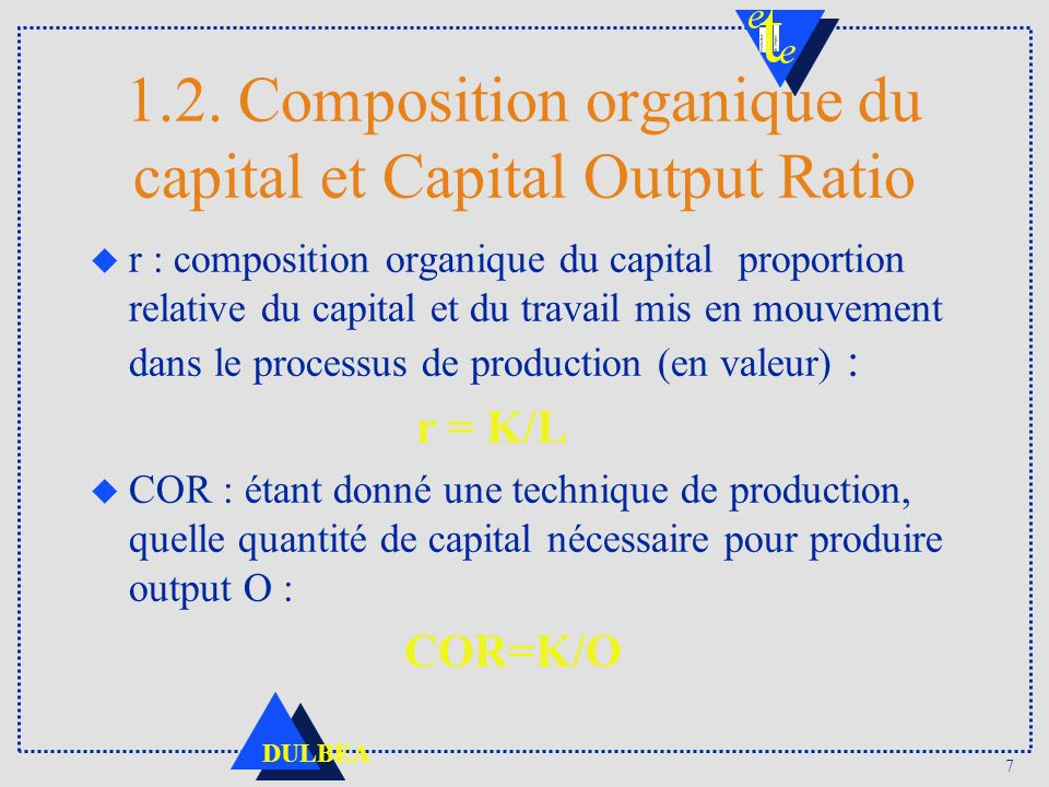1.2. Composition organique du capital et Capital Output Ratio