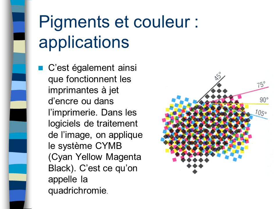 Pigments et couleur : applications