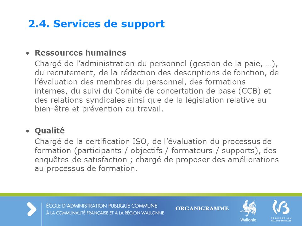 2.4. Services de support Ressources humaines
