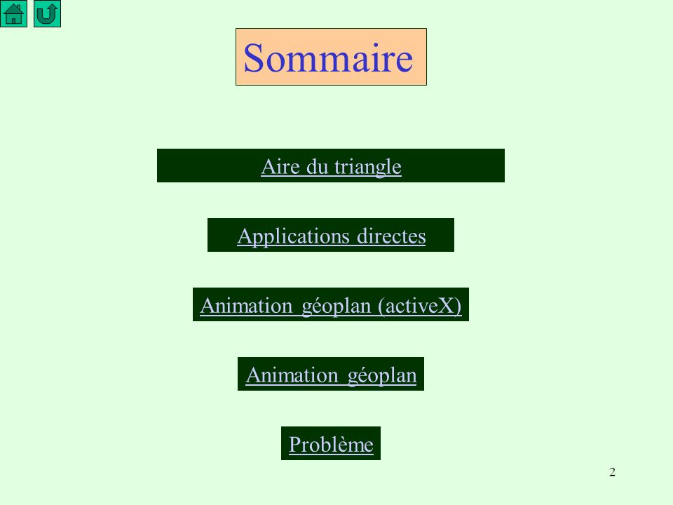 Sommaire Aire du triangle Applications directes