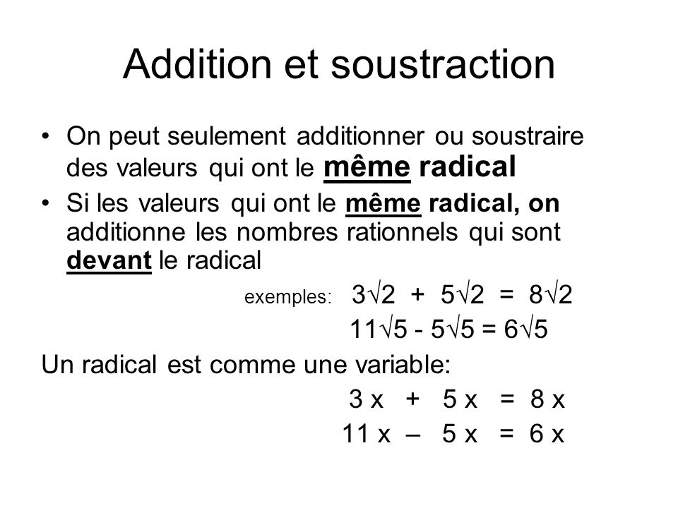 Addition et soustraction