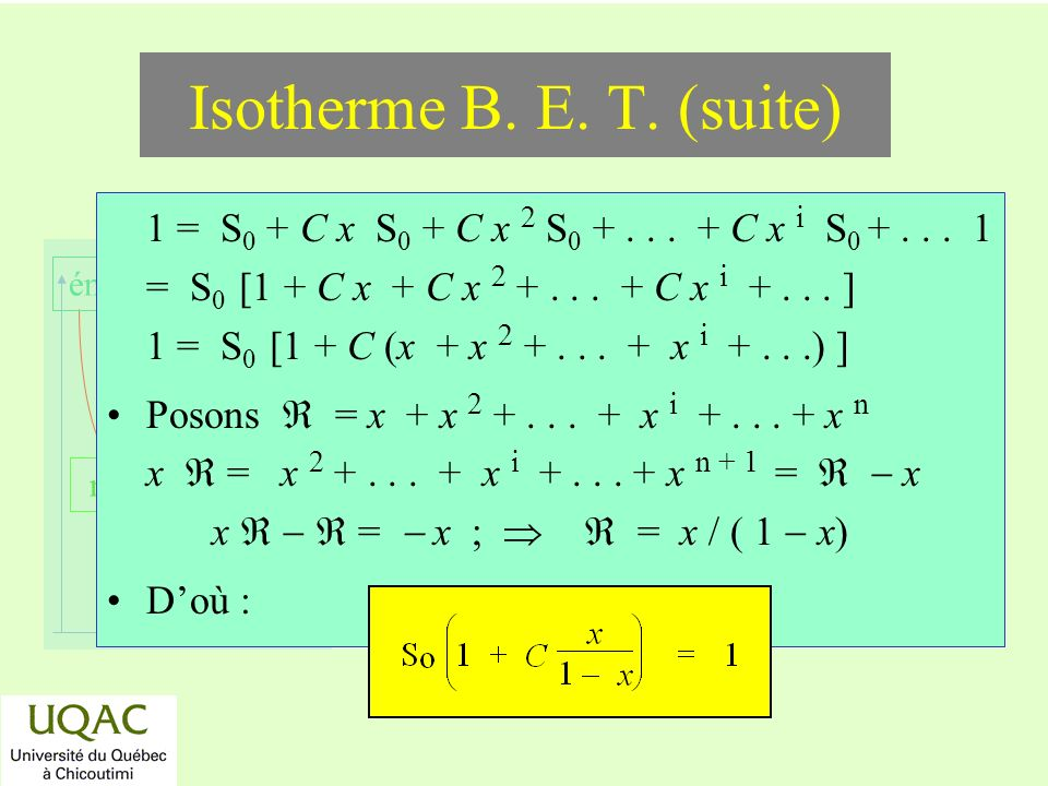 Isotherme B. E. T. (suite)