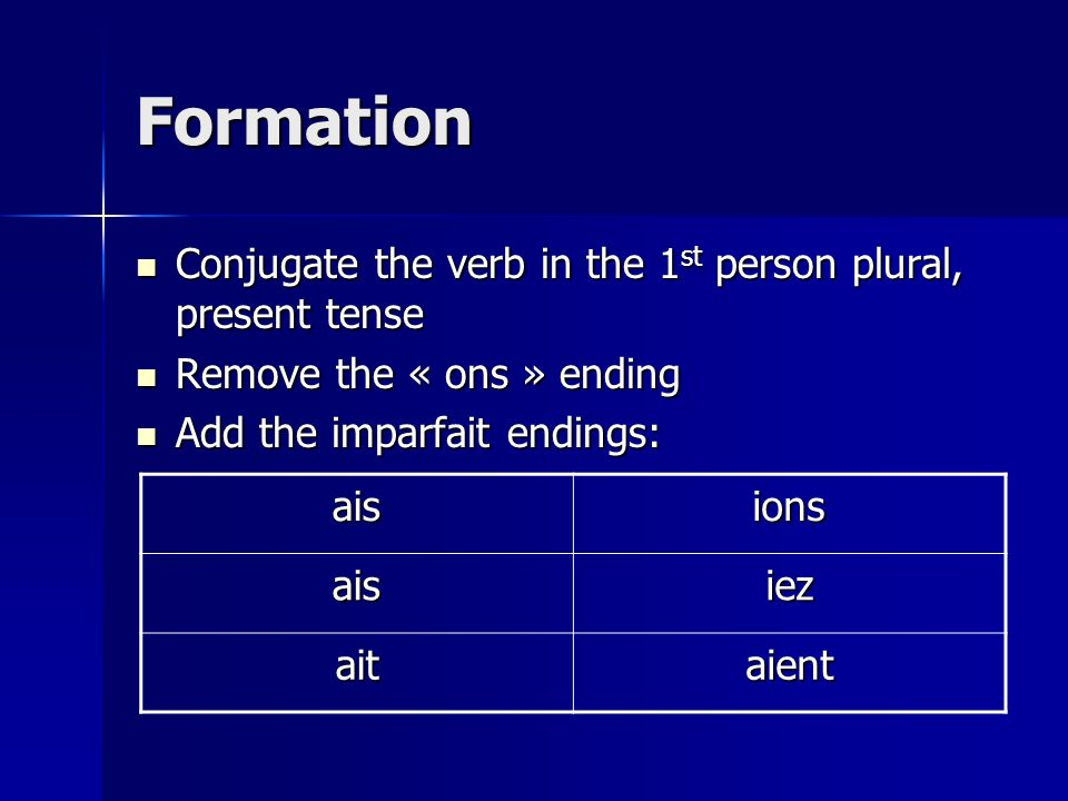 Formation Conjugate the verb in the 1st person plural, present tense