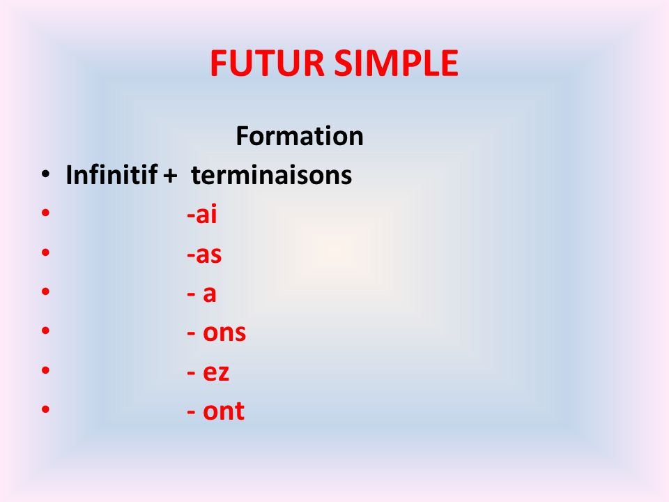 FUTUR SIMPLE Formation Infinitif + terminaisons -ai -as - a - ons - ez