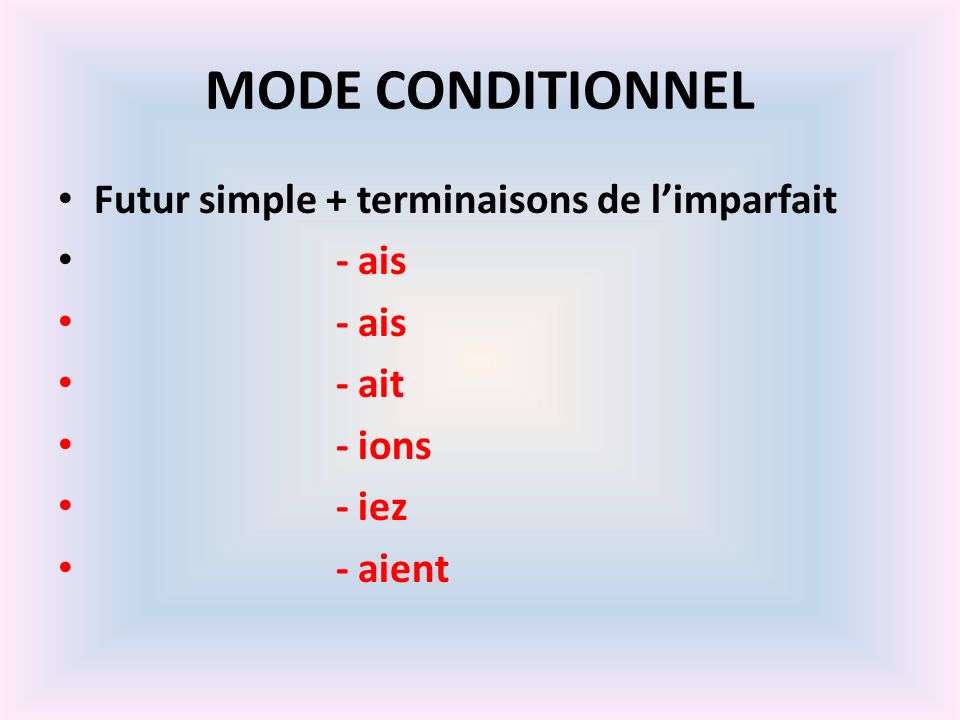 MODE CONDITIONNEL Futur simple + terminaisons de l'imparfait - ais