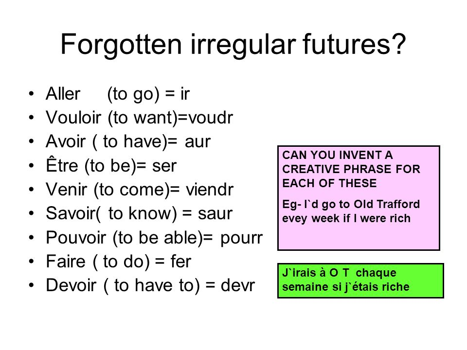 Forgotten irregular futures