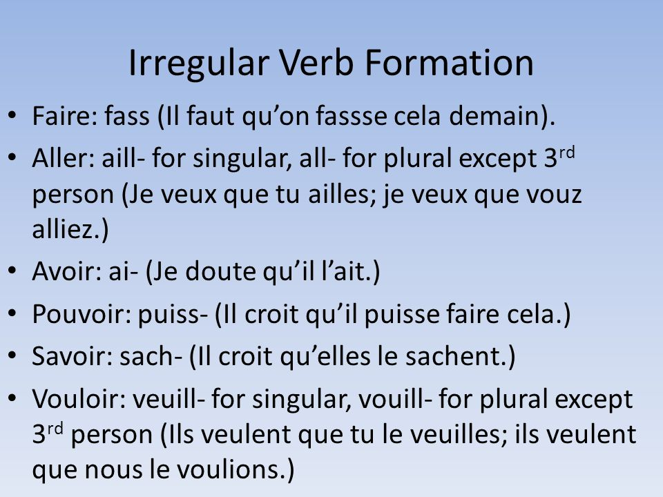 Irregular Verb Formation