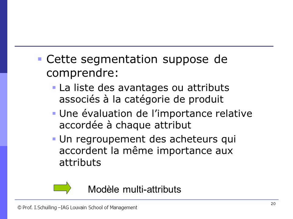 Cette segmentation suppose de comprendre: