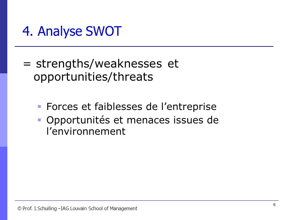 4. Analyse SWOT = strengths/weaknesses et opportunities/threats