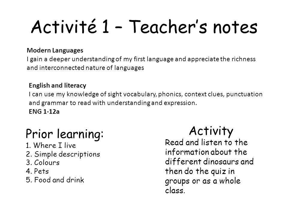 Activité 1 – Teacher's notes
