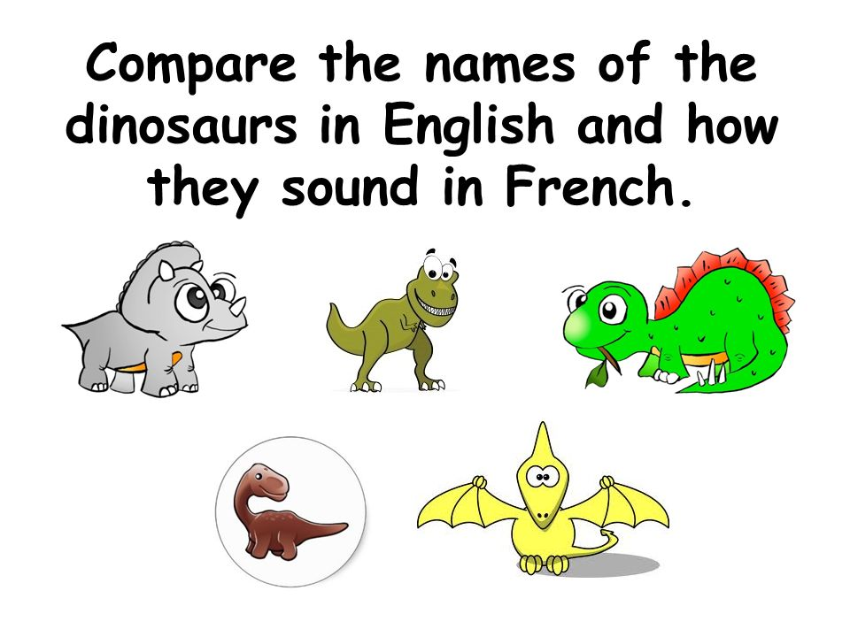 Compare the names of the dinosaurs in English and how they sound in French.