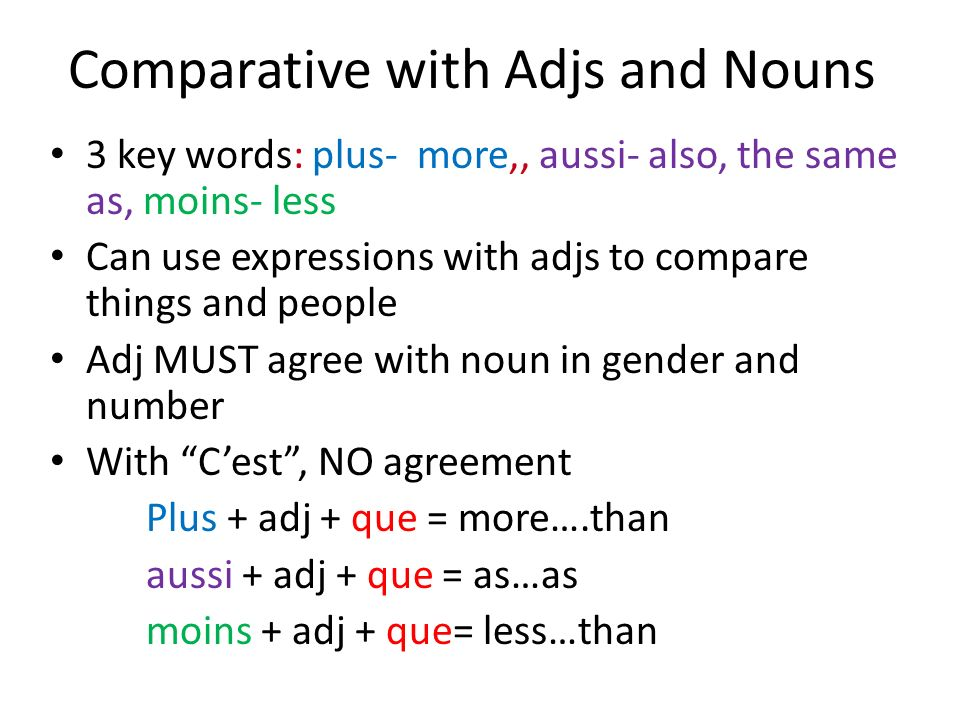 Comparative with Adjs and Nouns