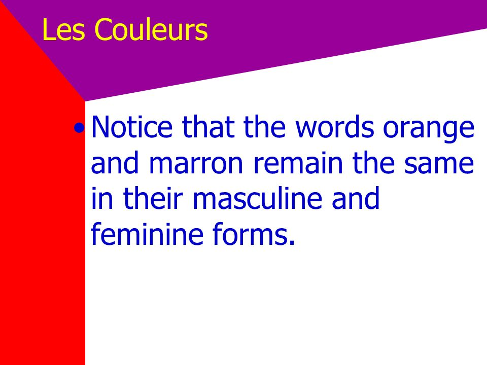 Les Couleurs Notice that the words orange and marron remain the same in their masculine and feminine forms.