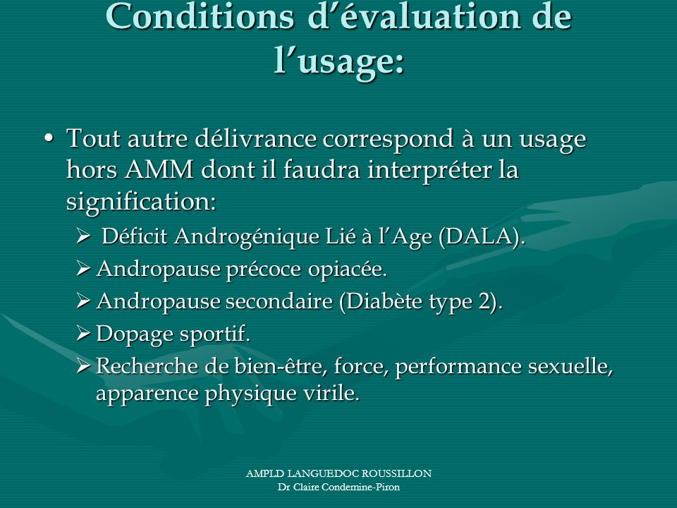Conditions d'évaluation de l'usage: