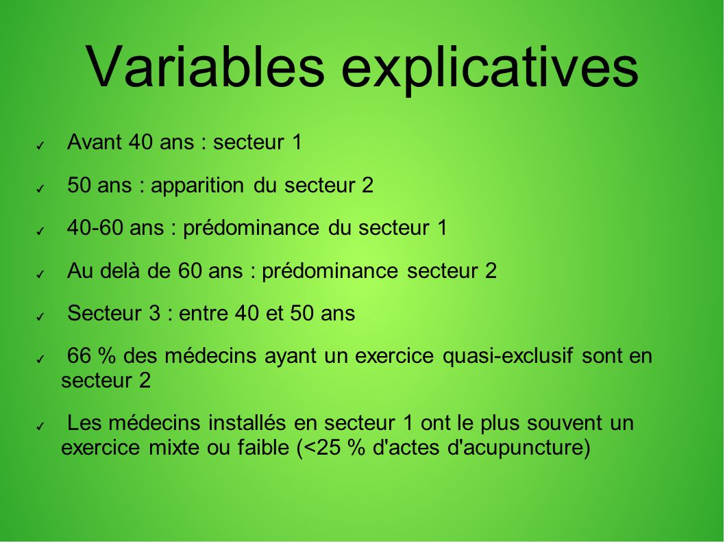 Variables explicatives