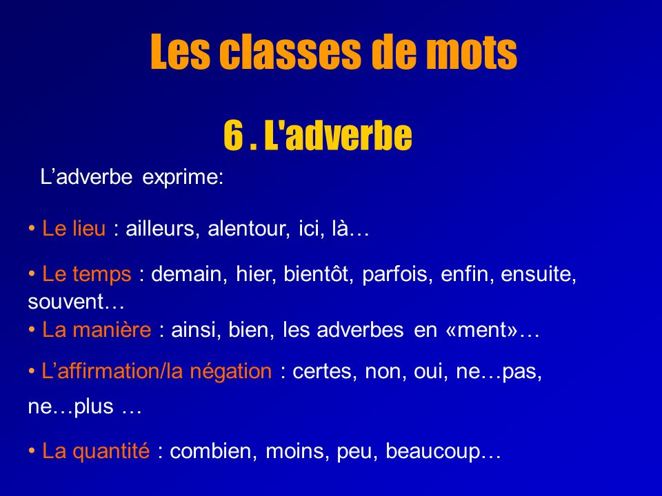 Les classes de mots 6 . L adverbe L'adverbe exprime: