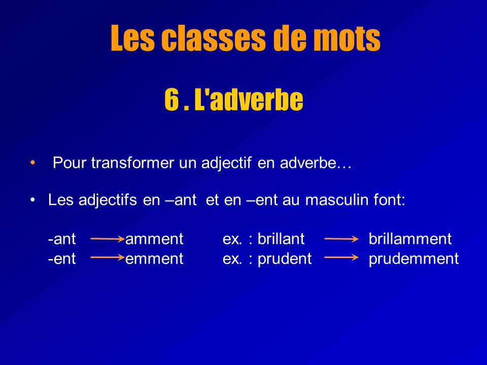 Les classes de mots 6 . L adverbe