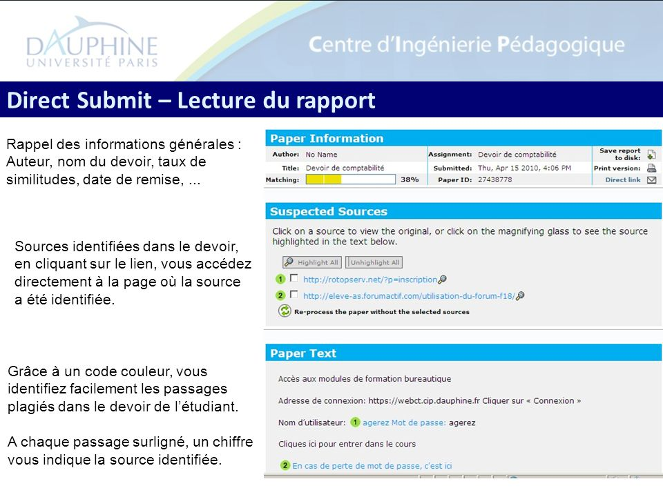 Direct Submit – Lecture du rapport