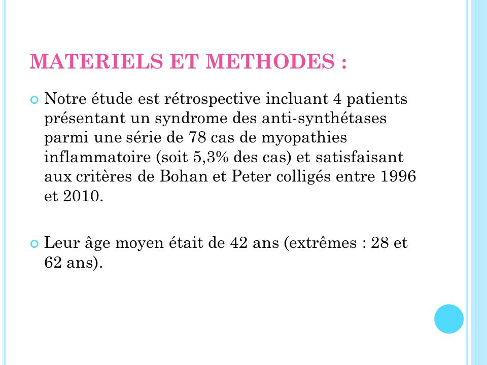 MATERIELS ET METHODES :
