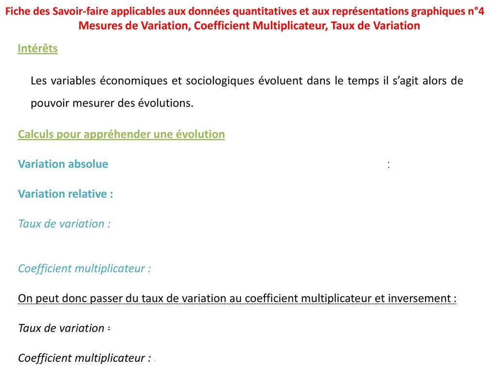 Mesures De Variation Coefficient Multiplicateur Taux De Variation