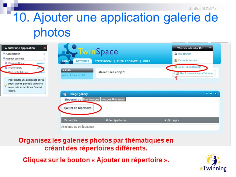 10. Ajouter une application galerie de photos