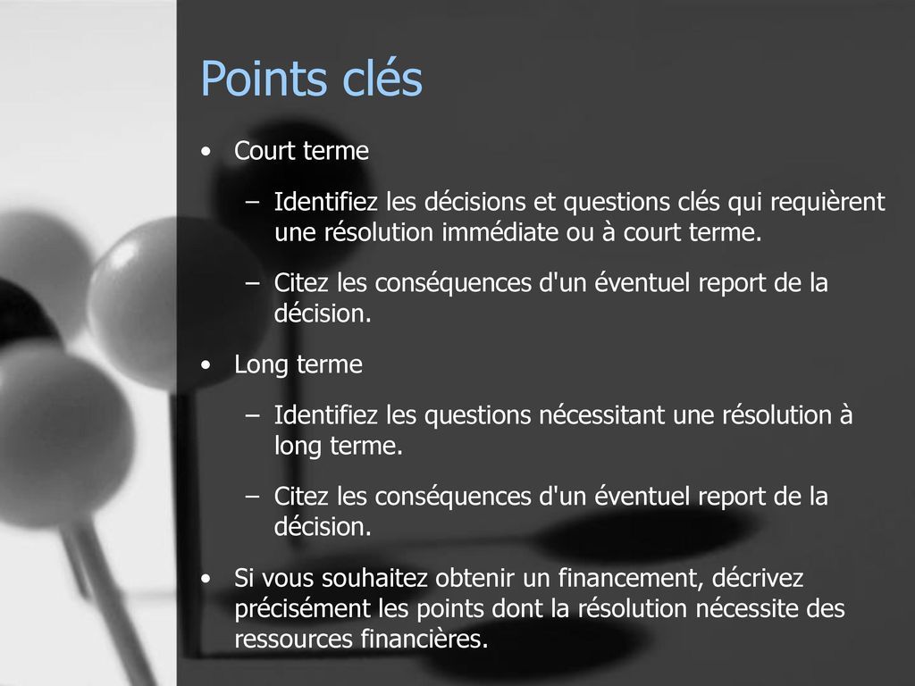 Points clés Court terme