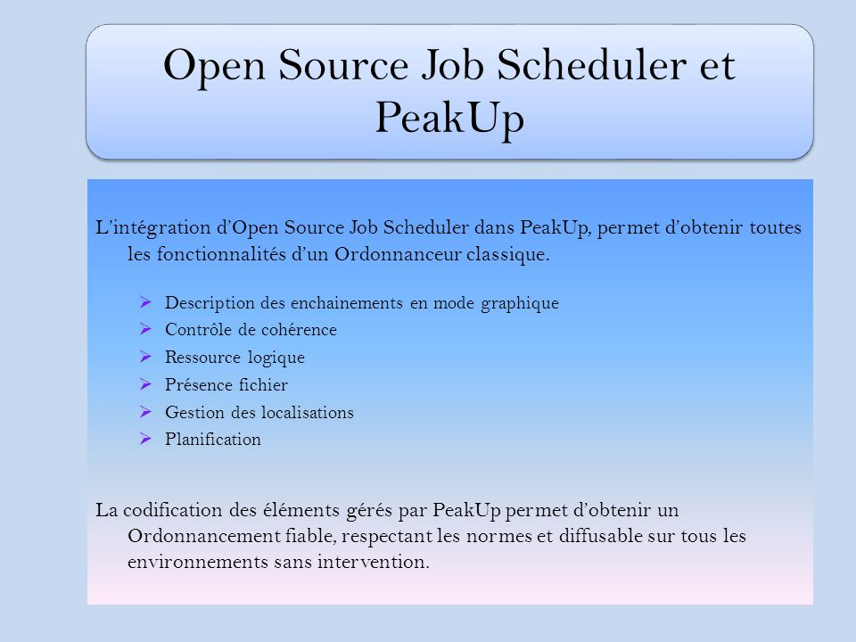 Open Source Job Scheduler et PeakUp