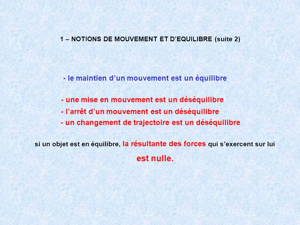 1 – NOTIONS DE MOUVEMENT ET D'EQUILIBRE (suite 2)
